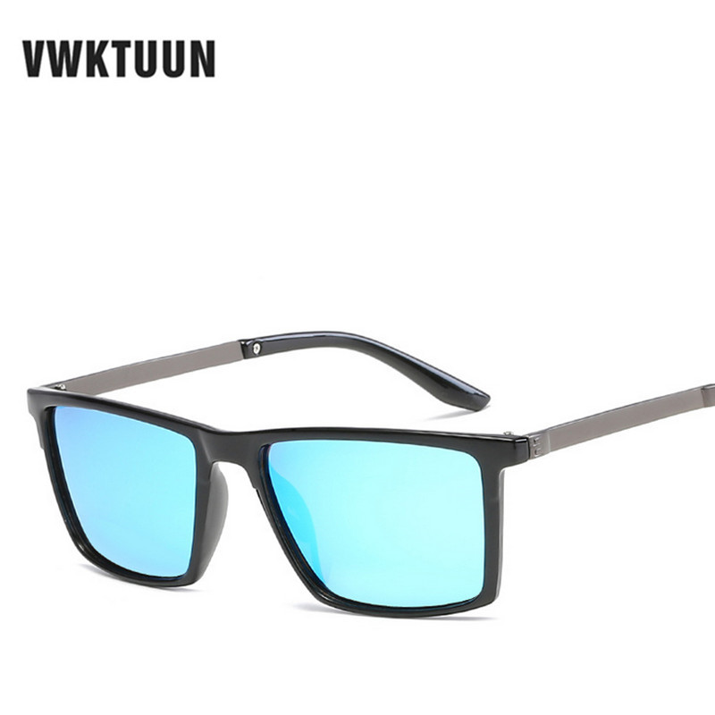 VWKTUUN Polarized Men Sunglasses Mirror Oversized Black Square Driver Fishing Sun Glasses Sports HD Lens Womens Sunglass Mens