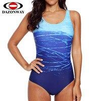 DAZONWAY Bikini One piece Swimsuit 2019 Women Piece Swimwear Swimming Pool Swimsuit Siamese Bikini Red Blue Black S M L XL XXL