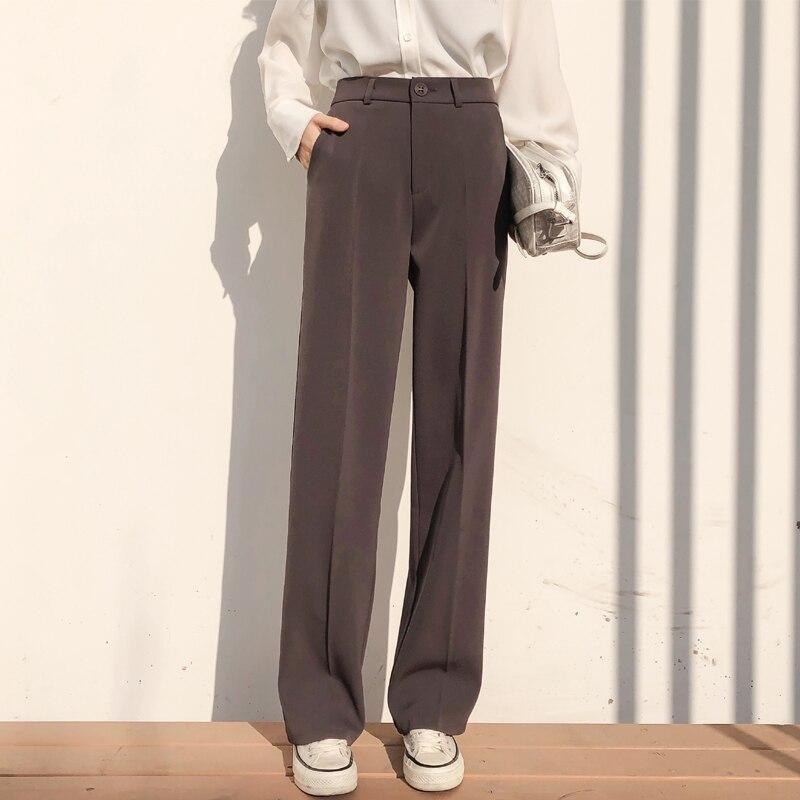 BGTEEVER Casual Loose Straight Women Suit Pants Pockets Full-length Pants Elegant Female Trousers pantalon femme 2019