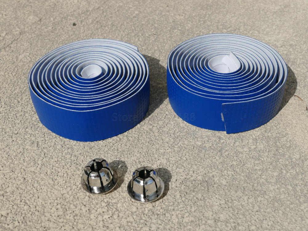 Couleur bleue 3 K carbone armure cyclisme vélo de route sport vélo liège guidon bande + 2 Bar Plug Fibre de carbone ceinture Fiber sangle