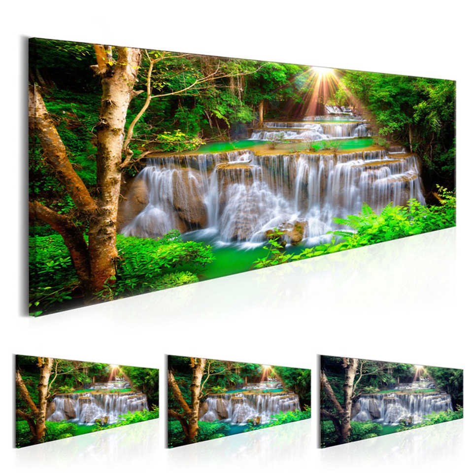 Canvas HD Prints Poster Fresh Wall Art 1 Set Green Forest Sunshine Waterfall View Painting Office Home Decor Modular Pictures