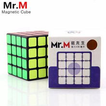New Shengshou sengso Mr.M 4x4x4 Magnetic Magic Cube Black Professional Magnets Puzzle Speed Cubes Educational Toys For Children shengshou magic cube 9x9 10x10 magic cubes 8x8 boys gift educational puzzle cubes