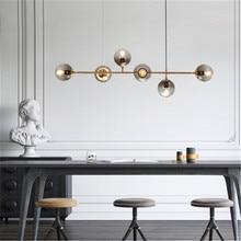 חדש נורדי סגנון אמנות רצועת תליון אור מודרני סלון דגם חדר זכוכית הנורה מתכת מוט E27 השעיה תאורה