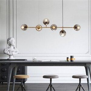 Image 1 - חדש נורדי סגנון אמנות רצועת תליון אור מודרני סלון דגם חדר זכוכית הנורה מתכת מוט E27 השעיה תאורה