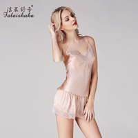 100% silk pajama sets for women 2019summer women's sleep& lounge fashion sexy lace print woman pink brand shorts pajama set