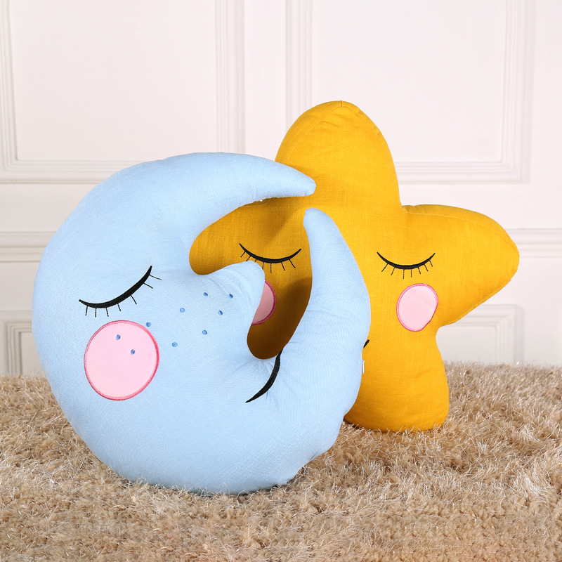Us 220 Baby Sleeping Pillow Cotton Linen Stars Moon Cloud House Shaped Cushion Kids Room Bed Sofa Photo Decoration Stuffed Toys Gift In Stuffed