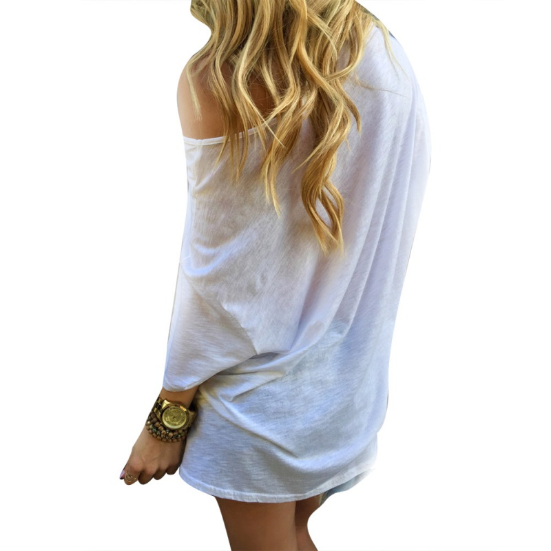 Sexy Women Off-Shoulder Tops Bloues Solid Short Sleeve Loose Casual T-shirt 0344