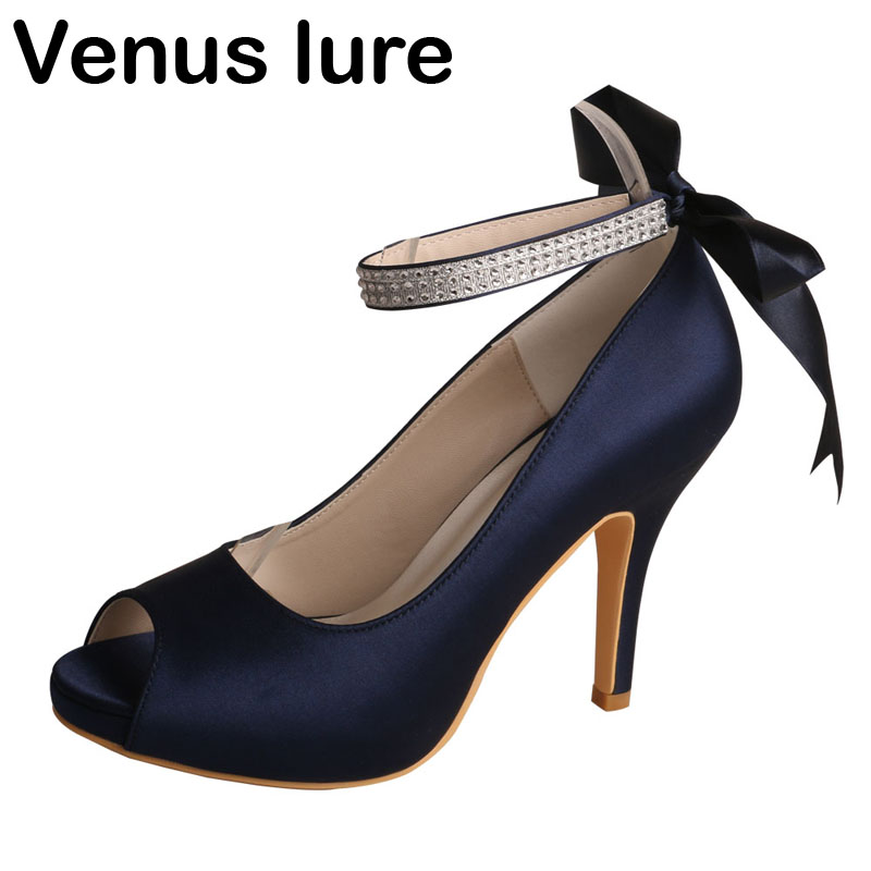 High Quality Dark Navy Shoes Wedding Bridesmaid Shoes Peep Toe Crystal Peep Toe Pumps цена