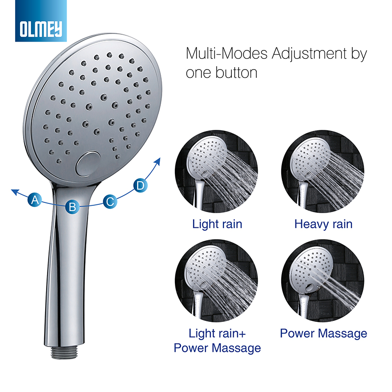 OLMEY Luxury Shower SPA with 4 Spray Settings-Grace High Pressure Hand Held Shower Head Set with Flexible hose & 4.7 Inch <font><b>21006</b></font> image