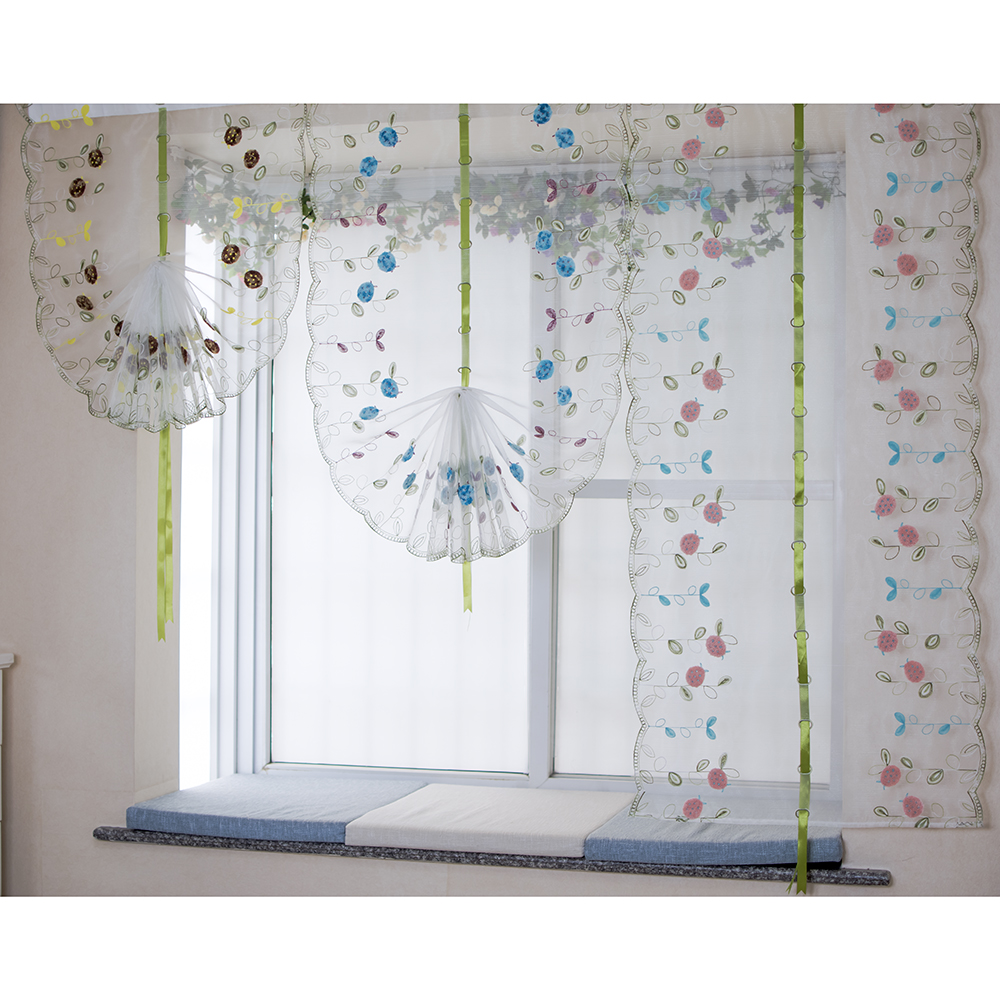 Balloon curtains kitchen - Organza Wool Embroidery Pattern Balloon Curtain Tulle Art Modeling Curtains For Kitchen Bedroom Living Room Window