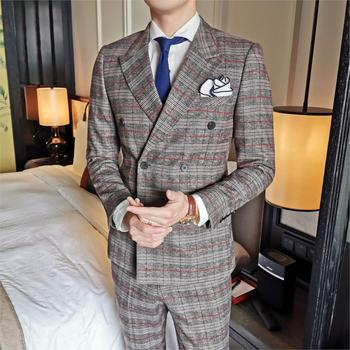 Men's Suits Houndstooth Collar Polyester Autumn Men Double Breasted Suit Stylish Wedding Smoking Mariage Homme Three Piece