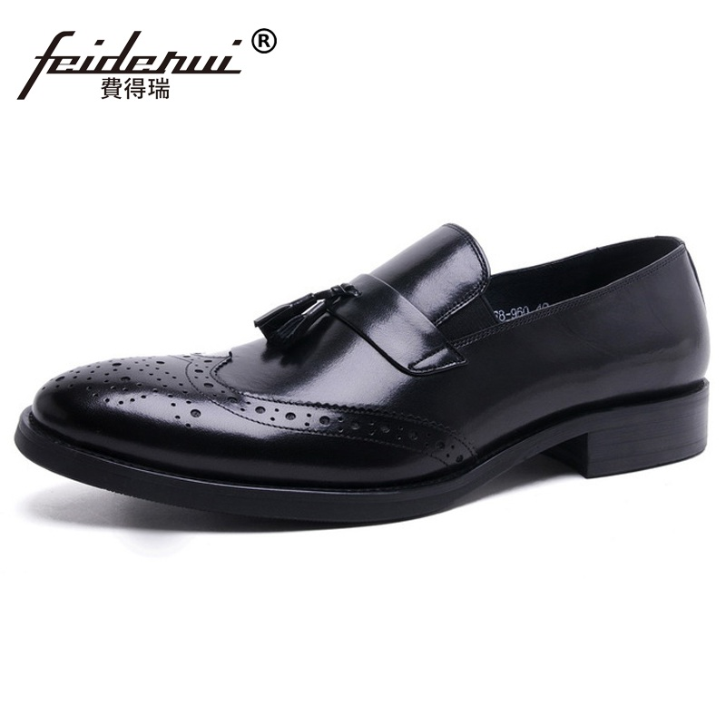 Здесь продается  Vintage Brand Man Carved Formal Dress Shoes Genuine Leather Brogue Loafers Round Toe Slip on Men