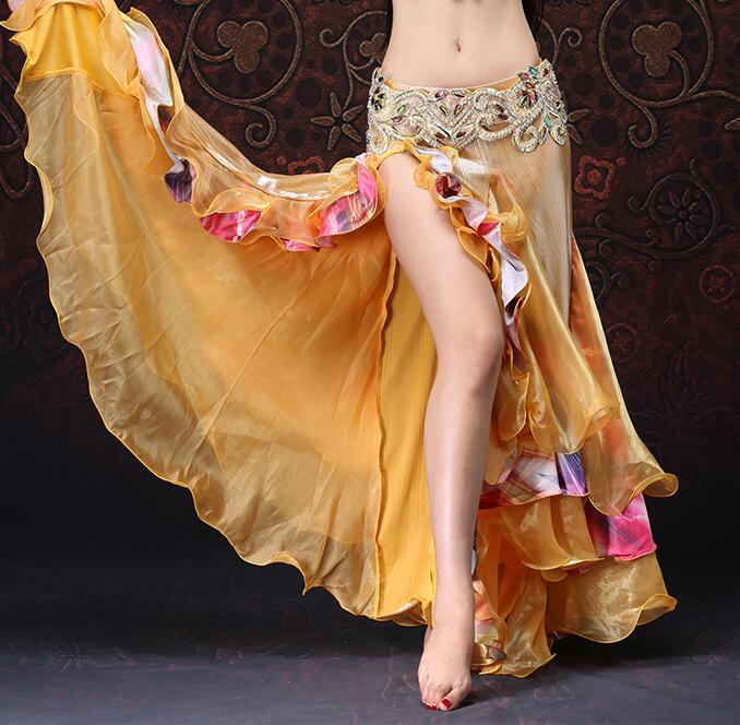 Sexy High Slit Women Dance Skirt Adult Belly Dancing Long Tiered Maxi Full Skirt Flower Decorated