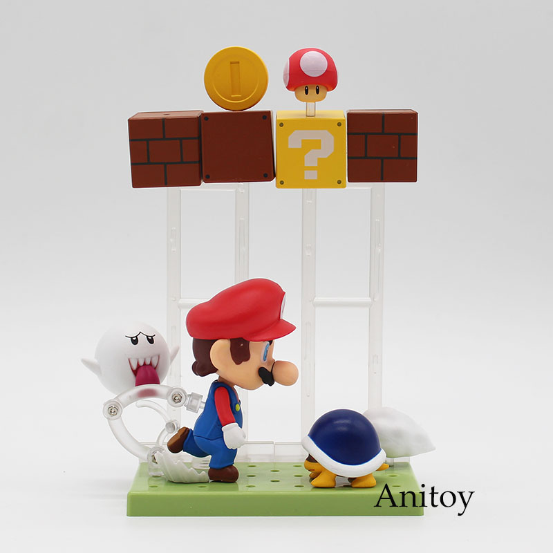 Super Mario Bros Mario with Toad Koopa Boo #473 Nendoroid PVC Action Figure Collectible Model Toys 10cm KT3746