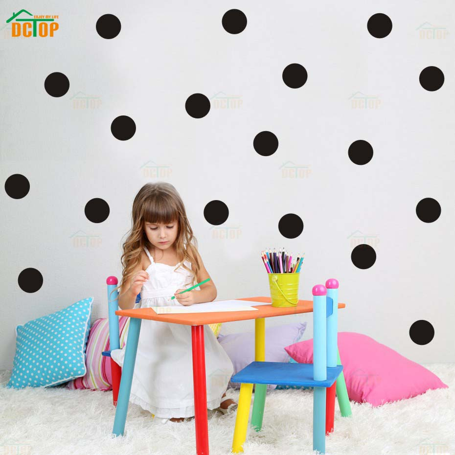 Circle dots polka dots modern wall art goldsilver wall stickers for kids bedroom vinyl decals waterproof wallpaper home decor