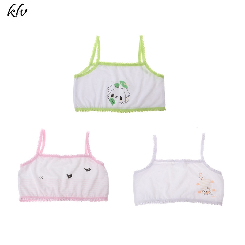 Cute Young Girl Training Bra Children Cartoon Printing Teenage Cotton Bras Underwear