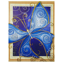 hot deal buy 3d5d shaped diamond painting peacock butterfly cross stitch needle arts craft resin partial drill canvas painting