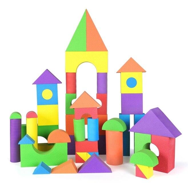 ZBOND 50 pcs 8 cm Épaisseur Enfants Creative Safe Doux Lumineux Couleur EVA Mousse blocs de construction Enfants Cadeaux Bébé jouets éducatifs premier âge
