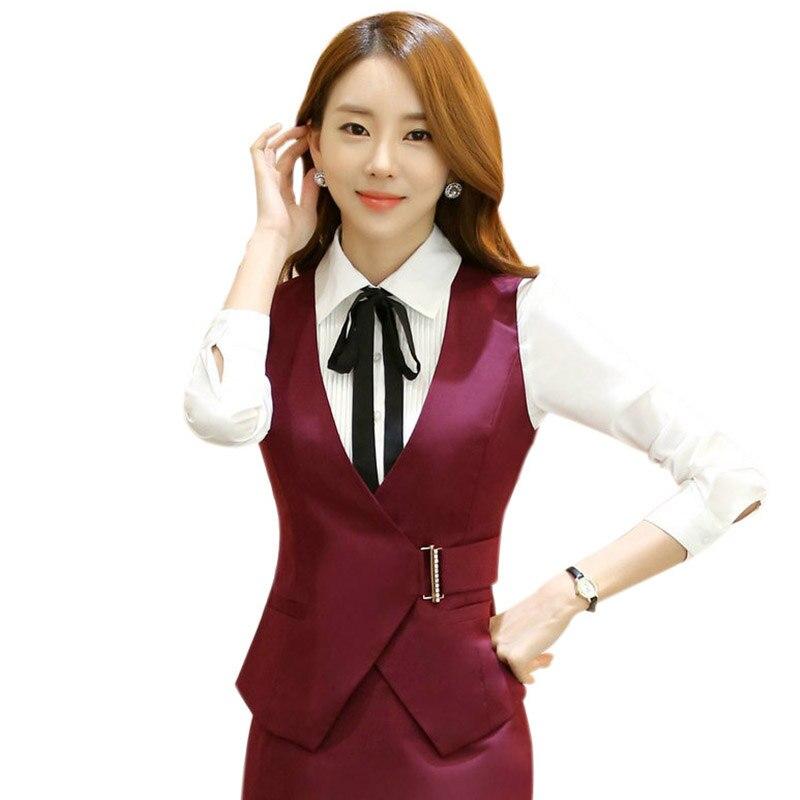 Fashion Waistcoat Woman Business Career Ladies Vest Work Wear Office Uniform Slim V-Neck Women Formal Vests Tops