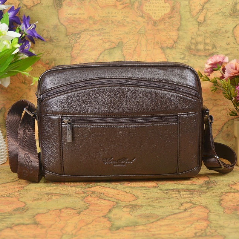 2017 New hot selling Fashion men messenger bags made by Black classics genuine leather travel male crossbody shoulder bags  #176