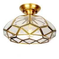 Европейский стиль Медь потолочный светильник e27 светодиодные лампы toolery Обеденная Спальня потолочный светильник Ресторан Главная коммерче