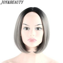 JOY&BEAUTY Bob Wig 12 inch Synthetic Hair Heat Resistant Ombre Golden Brown Red Gray Blue 16 Color Short Bob Wigs Cosplay wig(China)
