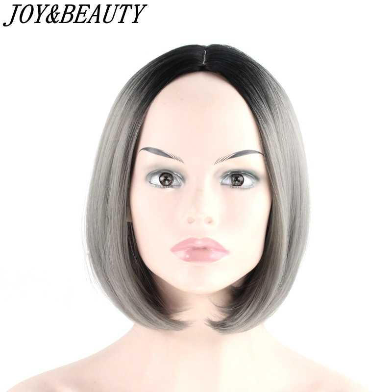 JOY&BEAUTY Bob Wig 12 inch Synthetic Hair Heat Resistant Ombre Golden Brown Red Gray Blue 16 Color Short Bob Wigs Cosplay wig