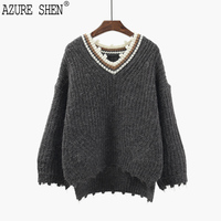 AZURE SHEN Winter Loose For Women 2018 Spring Casual Pullover Hit Color Hole Lady S