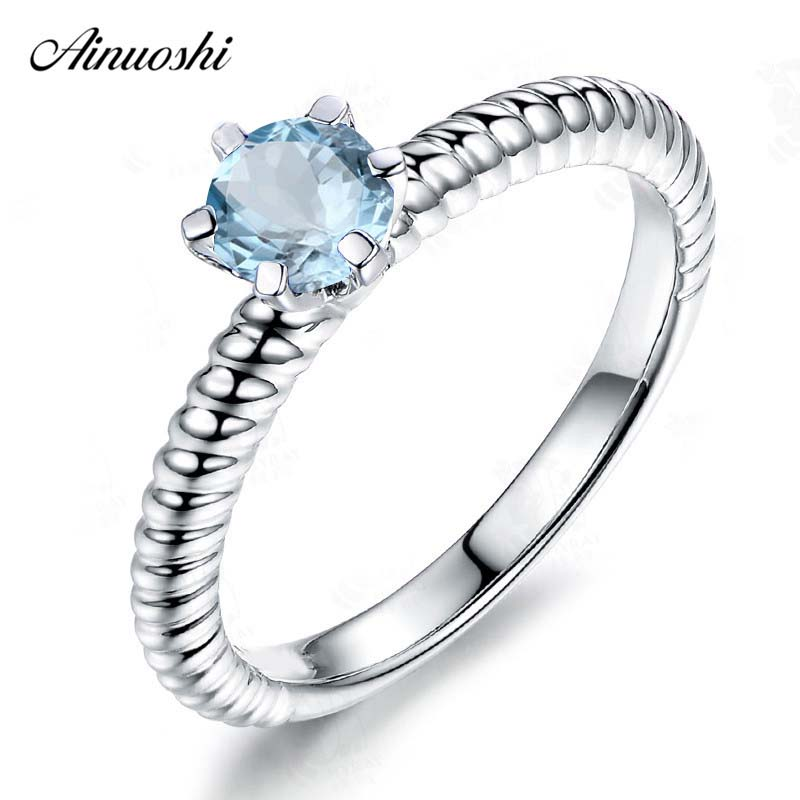 AINUOSHI Pure 925 Silver Natural Topaz Braided Rope Ring 0.5 ct Round Cut Sky Blue Topaz Ring Classical Engagement Wedding Ring ледянка 1toy cut the rope cut the rope