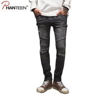 Marke Mann Vintage Gewaschen Jeans Slim Fitness Grau Biker Jeans Zerrissene Street Motorrad Mode Bleistift Hose