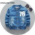 2017 del resorte del bebé niños chaqueta y abrigo de imitación de mezclilla ropa del muchacho muchachos carta ropa de abrigo niños chaqueta Sudadera de algodón chaqueta de las muchachas