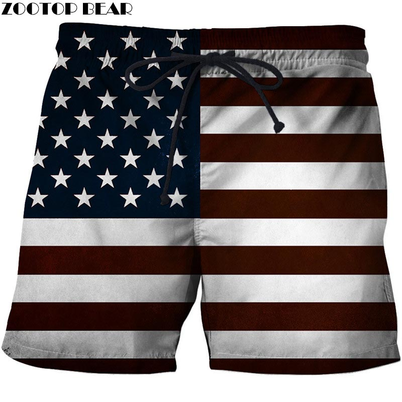 3D Print USA Flag Front Beach Shorts Men Casual Board Shorts Plage Quick Dry Shorts Swimwear Streetwear DropShip ZOOTOP BEAR New