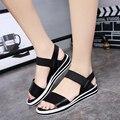 Sandalias mujer 2017 summer gladiador sandalias mujeres de moda sandalias planas de cuero cómodos zapatos de las señoras
