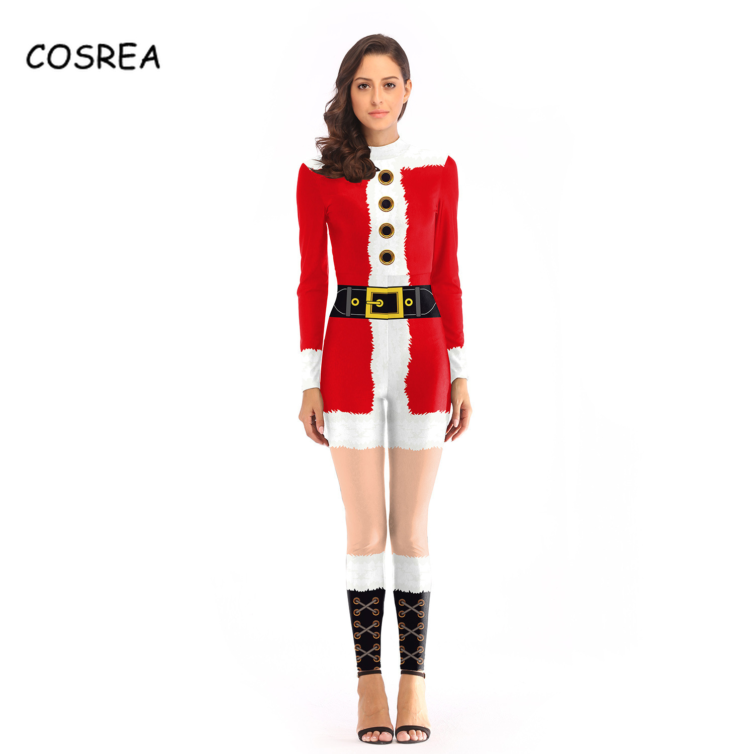 Christmas Jumpsuit Bodysuits One-piece Female Jumpsuit Girls Women Red Green Zentai Cosplay Christmas Girl Clothes Costumes