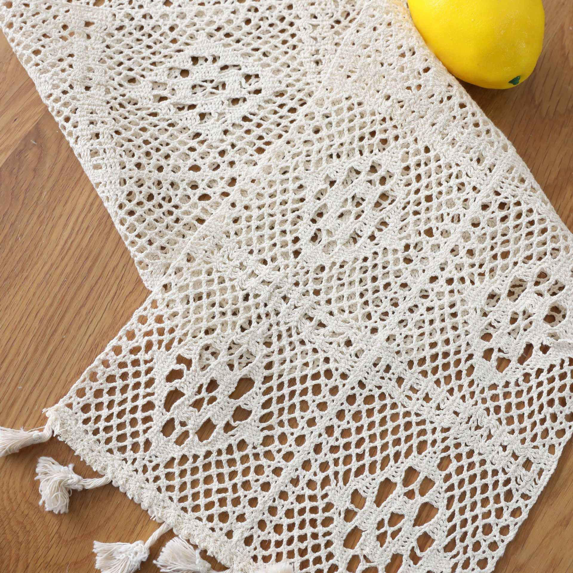 Sunnyrain 1 Piece Cotton White Crochet Table Runner Christmas Party Table Decoration Table Runners