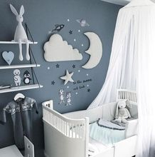 One Set Style Moon Cloud Star Decor Hanging Wall Stickers Color White Gray