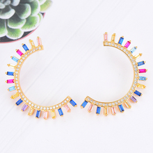 SisCathy New Fashion Jewelry Big Statement Stud Earrings Luxury Multicolor Mirco Paved Cubic Zirconia Wedding Earrings For Women цена