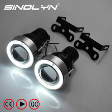 LED Angel Eyes Fog Light Projector Lens Kit With H3 Halogen Light Driving Lamps Fog Lamps For Car Retrofit Tuning 55W Universal(China)