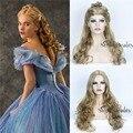 Filme Princesa Cinderela Cosplay Longo Encaracolado Ondulado peruca Frete grátis