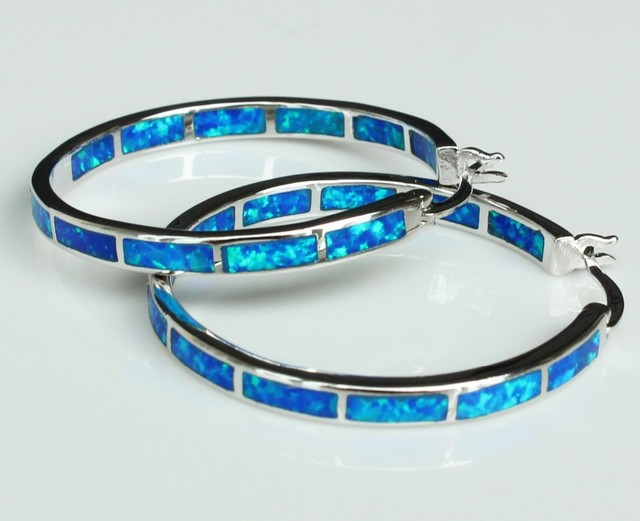 Big blue/white fire opal oorringen voor vrouwen 32mm een diameter van