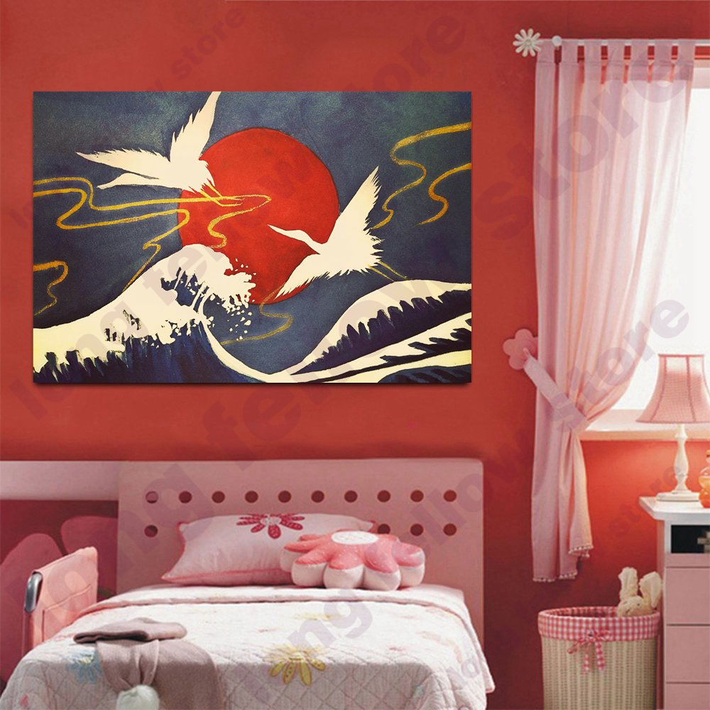 Retro Japanese Style Wall Art Canvas Print Crane Red Sun Painting For Living Room Office Wall Decor Abstract Vintage Home Decor