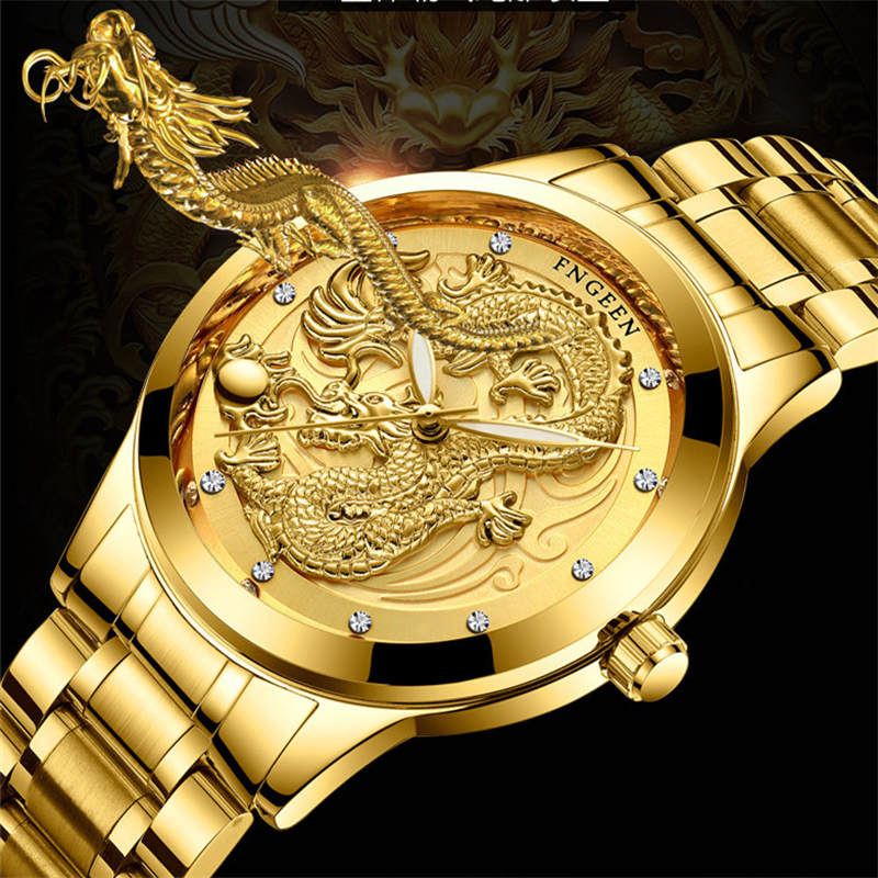 Dragon Gold Watch män klockor mode rostfritt stål Armbandsur 3D - Herrklockor - Foto 2