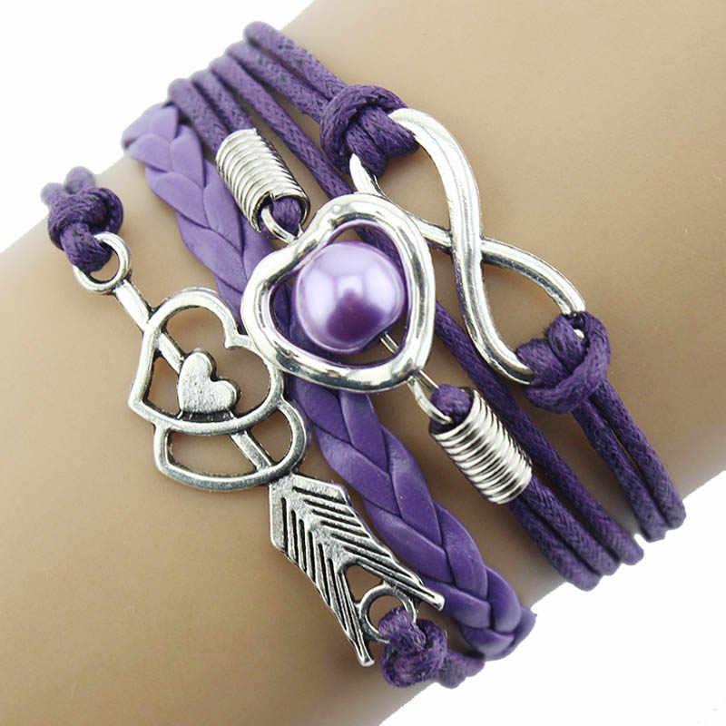 Pulseras de cuero para mujer Wrap 2019 1 Pza infinito amor corazón perla amistad encanto de cuero antiguo pulsera pulseira feminina