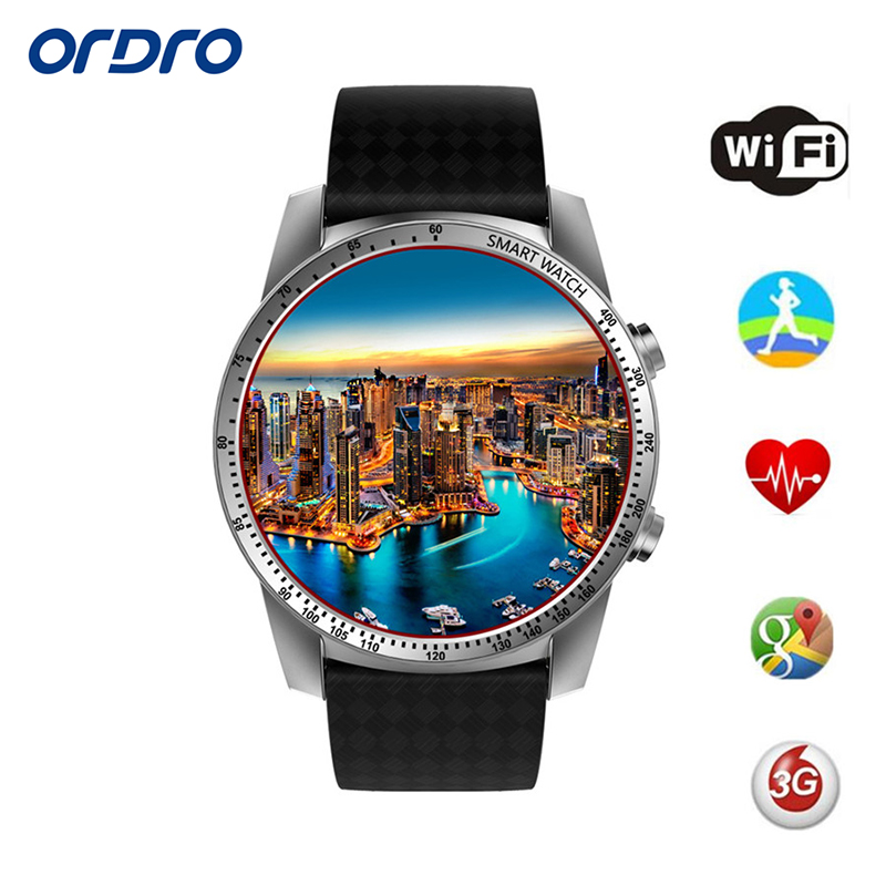 ORDRO KW99 Android Smart Watch Phone 3G WIFI SIM 8GB WiFi GPS Music Heart Rate 1.39Inch HD screen Android 5.1 SmartWatch For Men no 1 d5 bluetooth smart watch phone android 4 4 smartwatch waterproof heart rate mtk6572 1 3 inch gps 4g 512m wristwatch for ios