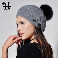 FURTALK Angola Rabbit Fur Beret Hats For Women Warm Winter Women Fur Pom Pom Hat Knit