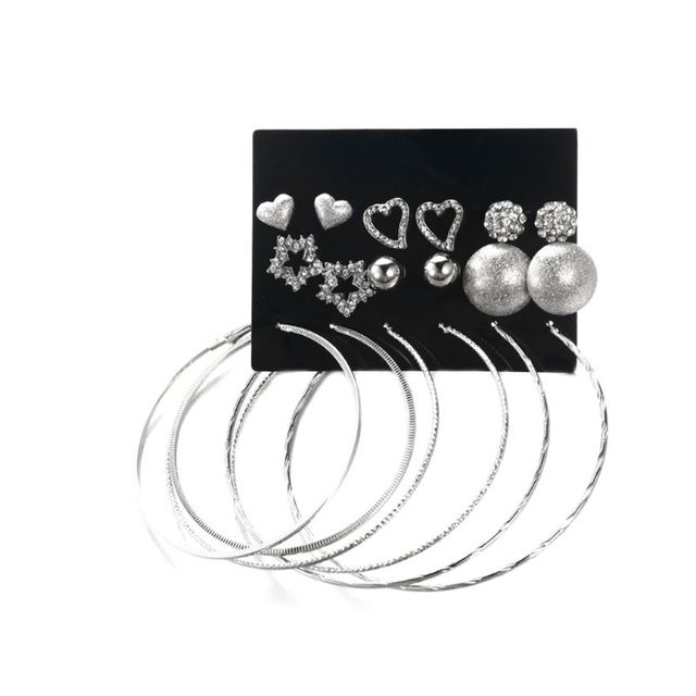 9 Pairs/Set Jewelry Earrings Circle Ring Ear Stud Rhinestone Shiny Star Heart Shaped Ball Women Party Gifts Charms Fashion
