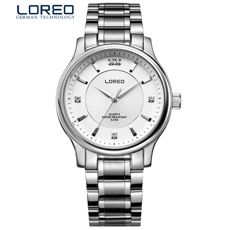 LOREO Authentic fashion diamond waterproof black leather sapphire crystal font b men b font business font