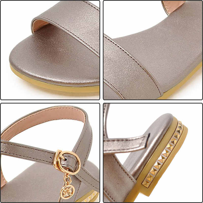 Fanyuan son bayanlar Düz Sandalet Rahat Açık kızlar yumuşak Ayak Bileği kayışı ayakkabı özlü Düz renk Açık ayak Yaz Sandalet