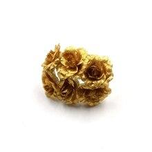 Artificial Flowers Gold Rose For Wedding Party Decoration Accessories Fleurs Scrapbooking DIY Craft Supplies 6pcs/ Bouquet