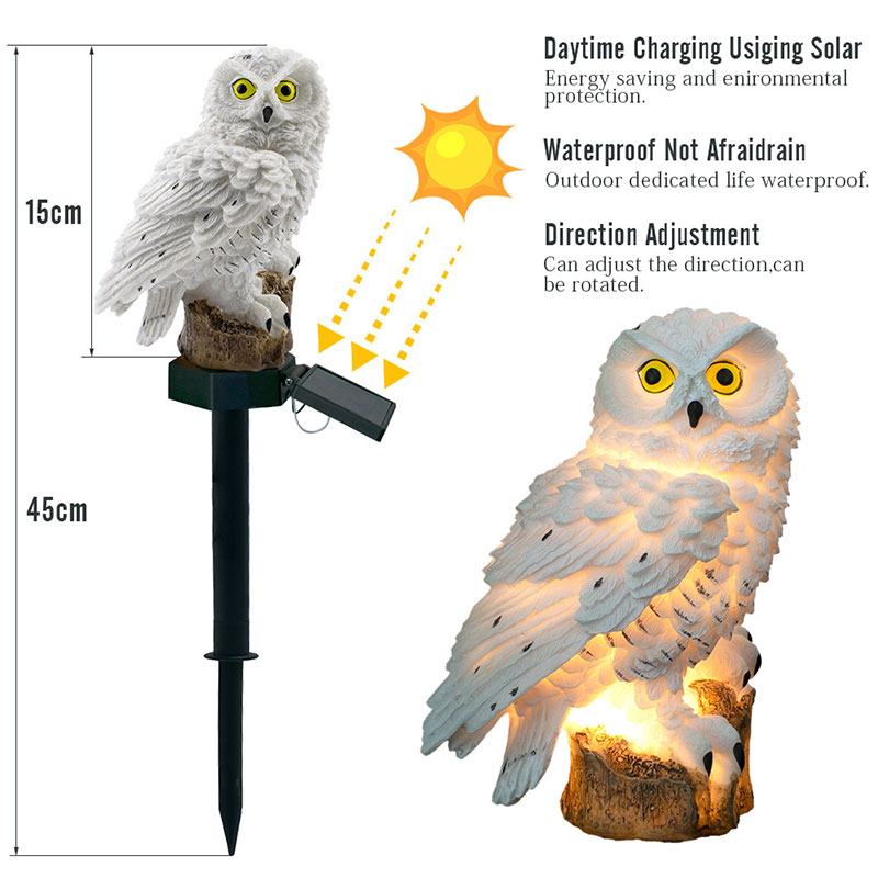ZINUO 1pcs LED Garden Lights Solar Night Owl Shape Lights Solar Powered Lawn Lamp Home Garden Creative Solar Lamps dropshipping in Solar Lamps from Lights Lighting